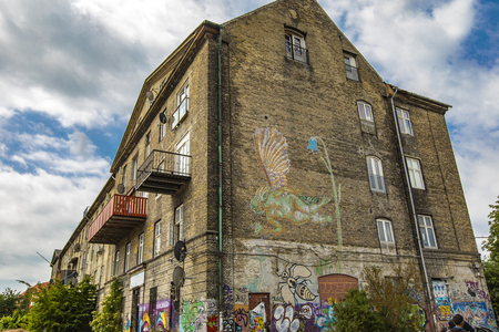 COPENHAGEN, DENMARK - JUNE 14, 2018: Detail from Freetown Christiania in Copenhagen, Denmark. Christiania is a self-proclaimed autonomous anarchist district founded at 1971. Editorial