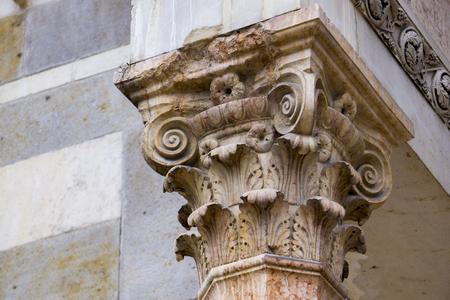 Closeup of the antique decorative pillar from Modena, Italy