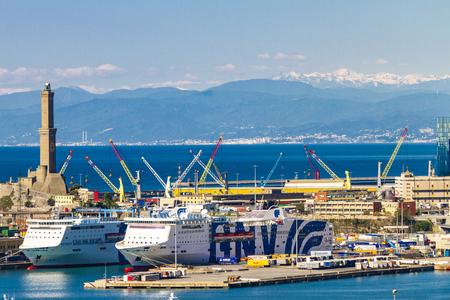 GENOA, ITALY - APRIL 29, 2017: Detail from Genoa port in Italy. Port of Genoa is the major Italian seaport. Standard-Bild - 103973312