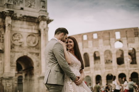 Young wedding couple in love in Rome, Italy