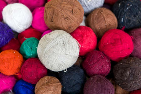 Closeup view at colorful wool thread balls 스톡 콘텐츠