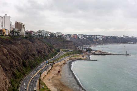 Aerial view at Miraflores District in Lima, Peru