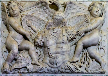 GENOA, ITALY - MARCH 11, 2018: Detail from Villa del Principe in Genoa, Italy. Villa was built between 1521 and 1529 for Andrea Doria, Admiral of Emperor Charles V.
