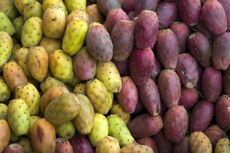 Prickly pears on the market in Cusco, Peru