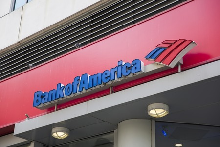 NEW YORK, USA - AUGUST 22, 2017: Detail of Bank of America office in New York. It is ranked 2nd on the list of largest banks in the US by assets