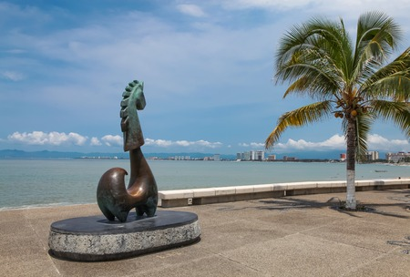 PUERTO VALLARTA, MEXICO - SEPTEMBER 6, 2015: View at Unicorn of Great Fortune statue at Puerto Vallarta in Mexico.