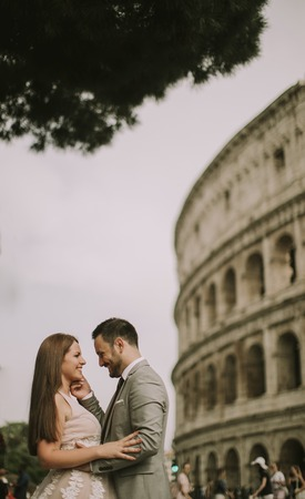 Happy bride and groom in Rome, Italy