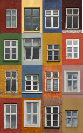 Windows on the colorful facades from Nyhavn harbour, Copenhagen, Denmark Stok Fotoğraf