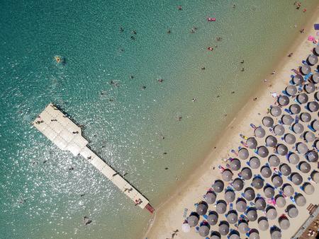 Aerial view at beach at Ammouliani island at Chalkidiki, Greece Stock Photo - 105754622