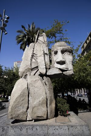 SANTIAGO, CHILE - JANUARY 17, 2018: View at sculpture in Santiago de Chile. Sculpture was made by Enrique Villalobos at 1992 to commemorate the 500th anniversary of Christopher Columbusvoyage to America.