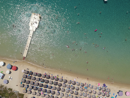 Aerial view at beach at Ammouliani island at Chalkidiki, Greece Stock Photo - 105975186