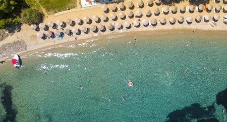 Aerial view at beach at Porto Elea, Sithonia, Chalkidiki, Greece Stock Photo