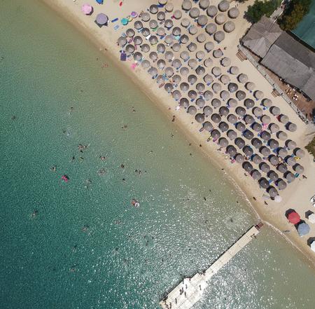 Aerial view at beach at Ammouliani island at Chalkidiki, Greece Stock Photo - 106124884
