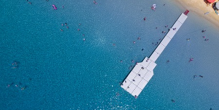 Aerial view at beach at Ammouliani island at Chalkidiki, Greece