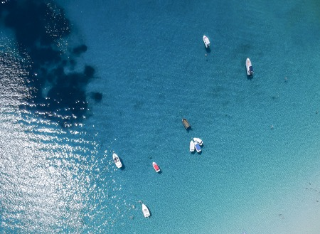 Aerial view at beach at Ammouliani island at Chalkidiki, Greece Stock Photo - 106124815
