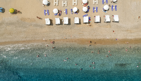 Aerial view at beach at Pyrgos Chiliadous at Chalkidiki, Greece Stock Photo - 106218922