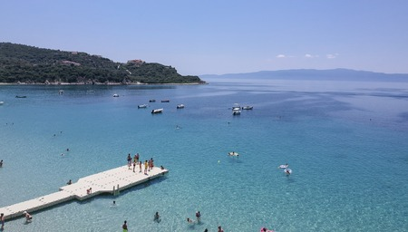 Aerial view at beach at Ammouliani island at Chalkidiki, Greece Stock Photo - 106438503