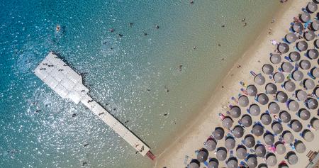 Aerial view at beach at Ammouliani island at Chalkidiki, Greece Stock Photo - 106431171
