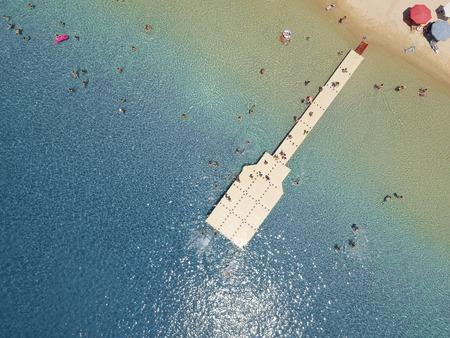 Aerial view at beach at Ammouliani island at Chalkidiki, Greece