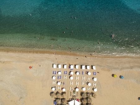 Aerial view at beach at Pyrgos Chiliadous at Chalkidiki, Greece