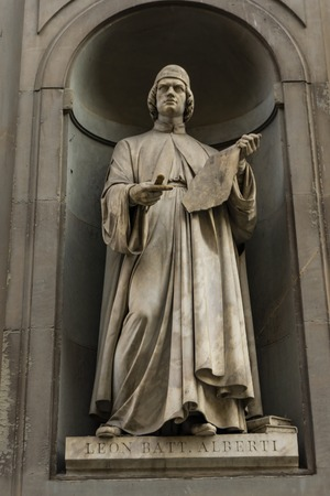 View at artist Leon Battista Alberti monument in Florence, Italy