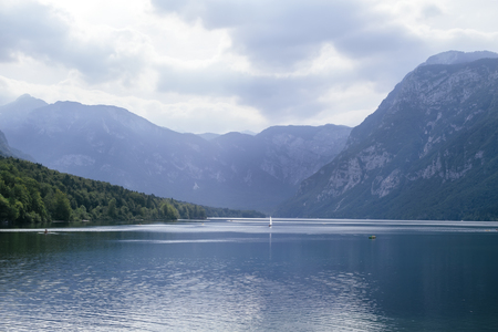 View at the Bohinj lake in Slovenia 스톡 콘텐츠