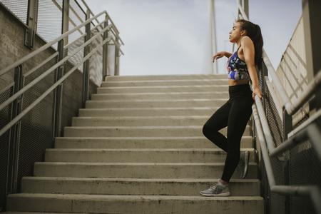 Portrait of female runner resting Reklamní fotografie