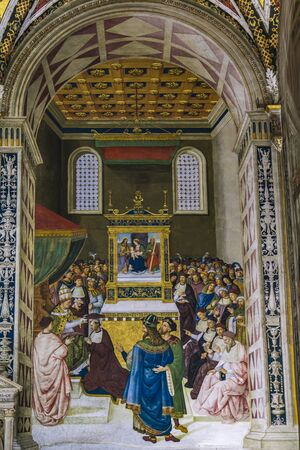 SIENA, ITALY - APRIL 8, 2016: Interior of the Siena cathedral in Italy. Siena cathedral is dedicated to the Assumption of Mary.