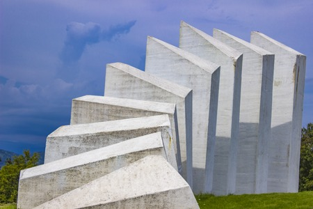 World War Two Fighters Workers Battalion Monument on Kadinjaca, Serbia Stock Photo - 107905743