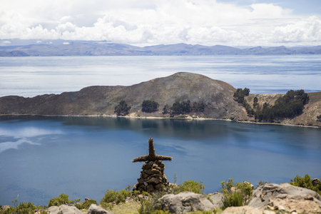 View at Isla del Sol on Titicaca lake. It is the biggest island on the high altitude lake Titicaca