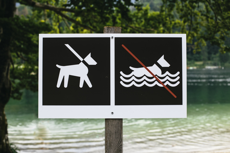 View at no dog bathing sign on signpost Banque d'images - 107910867