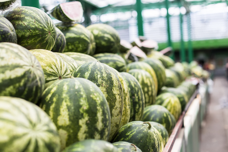View at fresh watermelons on the market