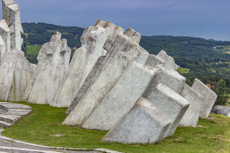 World War Two Fighters Workers Battalion Monument on Kadinjaca, Serbia Stock Photo - 107961456