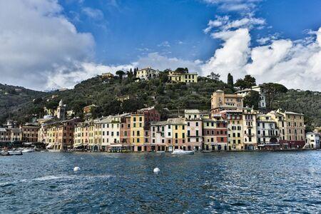 PORTOFINO, ITALY - MARCH 12, 2018: Seaside view at Portofino, Italy. Portofino is one of the most popular resort towns on the Italian Riviera