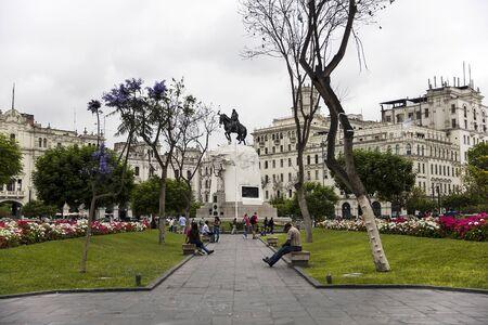 LIMA, PERU - DECEMBER 29, 2017: View at General Jose de San Martin Equestrian Statue in Lima, Peru. tatue was made by Mariano Benlliure.