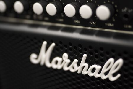 BELGRADE, SERBIA - JULY 23, 2018: Detail of the Marshall amplifier in Belgrade, Serbia. Marshall Amplification is an English company that designs and manufactures music equipment, founded at 1960.