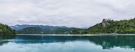 Panoramic view at Lake Bled in Slovenia 스톡 콘텐츠