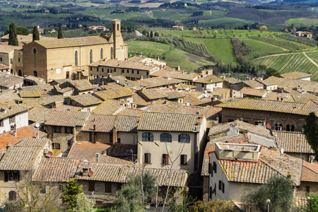 Aerial view at San Gimignano town in Tuscany, Italy