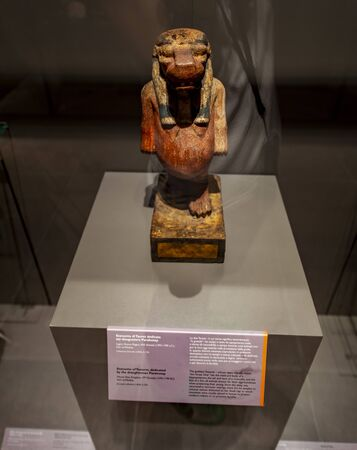 TURIN, ITALY - JUNE 3, 2015: Detail from Museo Egizio in Turin, Italy. Museum houses one of the largest collections of Egyptian antiquities with more than 30,000 artefacts.
