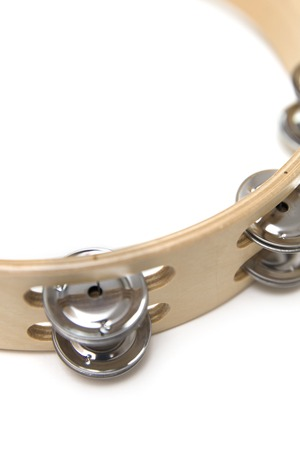Single  tambourine isolated on the white background Stock Photo