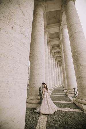 Young wedding couple in Vatican, Rome, Italy