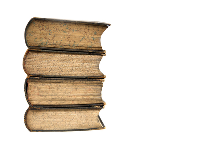 Group of vintage books isolated on the white background