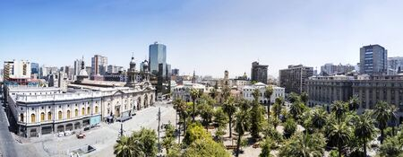 SANTIAGO, CHILE - JANUARY 16, 2018: View at Plaza de Armas and Metropolitan Cathedral of Santiago in Chile. Metropolitan Cathedral of Santiago is the seat of the Archbishop of Santiago de Chile.