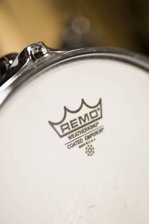 BELGRADE, SERBIA - JULY 23, 2018: Detail of the Remo Instruments drum. Remo Inc. is an American  percussion instrument company, founde dat 1957. Editorial