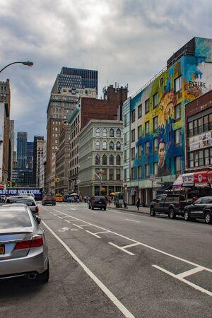 NEW YORK, USA - JULY 13, 2016: Mural dedicated to poem Federico García Lorca in New York, USA. Mural was created by spanish artist Raul Ruiz. Stock Photo - 129377994