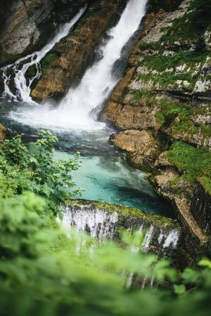Closeup of the Savica waterfall at Bohinj Valley, Slovenia