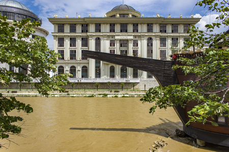 View at Vardar river in Skopje, Macedonia Redactioneel