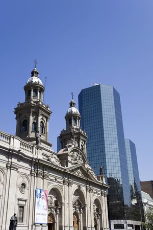 SANTIAGO DE CHILE, CHILE - JANUARY 16, 2018: Metropolitan Cathedral of Santiago in Chile during visit of Pope Francis. During his four day visit in Chile, Pope visited Santiago, Iquique and Temuco.