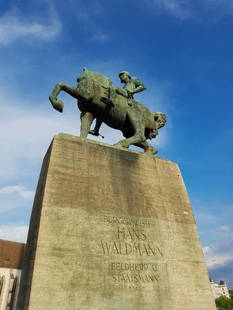 Equestrian monument to Hans Waldmann in Zurich, Switzerland
