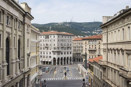 TRIESTE, ITALY - JULY 1, 2018: View at street of Trieste, Italy. Trieste is the capital city of the Friuli Venezia Giulia region in northeast Italy. 新聞圖片